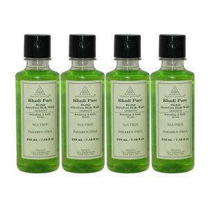 Khadi Pure Herbal Aloevera Body Wash Sls-paraben Free - 210ml (set Of 4)