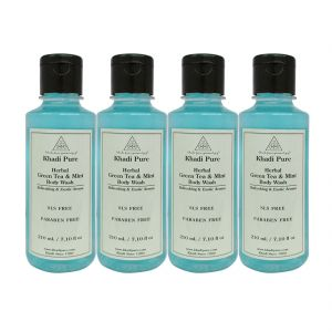 Khadi Pure Herbal Green Tea & Mint Body Wash Paraben Free - 210ml (set Of 4)