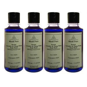 Khadi Pure Herbal Lavender & Ylang Ylang Body Wash Paraben Free - 210ml (set Of 4)