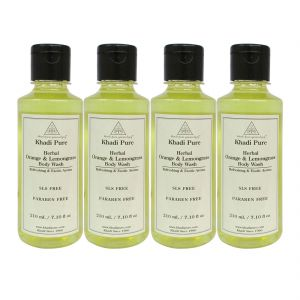 Khadi Pure Herbal Orange & Lemongrass Body Wash Paraben Free - 210ml (set Of 4)