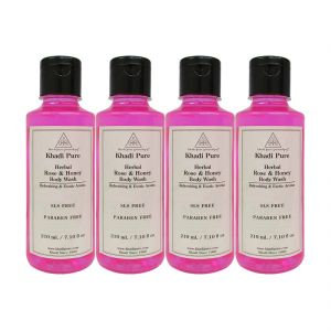 Khadi Pure Herbal Rose & Honey Body Wash Paraben Free - 210ml (set Of 4)