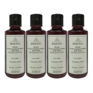 Khadi Pure Herbal Woody Sandal & Honey Body Wash Sls-paraben Free - 210ml (set Of 4)