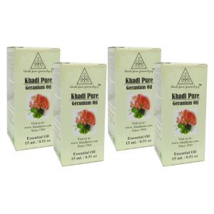 Globus,Diesel,Khadi,Gucci,Brut Personal Care & Beauty - Khadi Pure Herbal Geranium Essential Oil - 15ml (Set of 4)