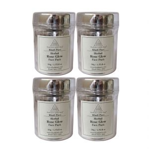 Khadi Pure Herbal Rose Glow Face Pack - 50g (set Of 4)