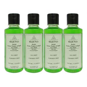 Khadi Pure Herbal Neem, Teatree And Basil Face Wash Paraben Free - 210ml (set Of 4)