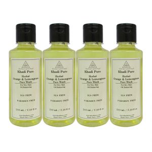 Khadi Pure Herbal Orange & Lemongrass Face Wash Paraben Free - 210ml (set Of 4)