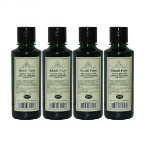 Khadi Pure Herbal Amla & Bhringraj Hair Oil - 210ml (set Of 4)