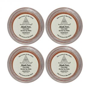 Globus,Dior,Nike,Kaamastra,Nova,Khadi Body Care - Khadi Pure Herbal Chocolate Lip Balm - 10g (Set of 4)