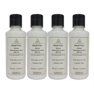 Khadi Pure Herbal Sunscreen Lotion (spf 30) -210ml (set Of 4)