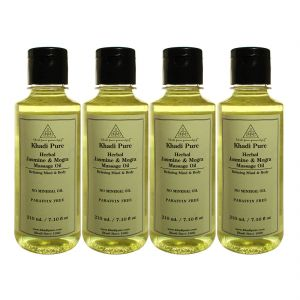 Khadi Pure Herbal Jasmine & Mogra Body Massage Oil Paraffin-mineral Oil Free - 210ml (set Of 4)