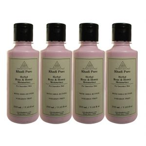 Khadi Pure Herbal Rose & Honey Moisturizer With Sheabutter Paraben Free - 210ml (set Of 4)