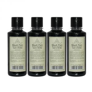 Khadi Pure Herbal Amla & Reetha Shampoo - 210ml (Set Of 4)