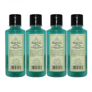 Khadi Pure Herbal Green Apple Shampoo   Conditioner - 210ml (Set Of 4)