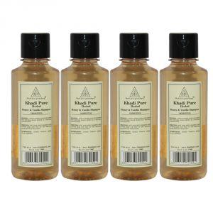 Khadi Pure Herbal Honey & Vanilla Shampoo - 210ml (Set Of 4)