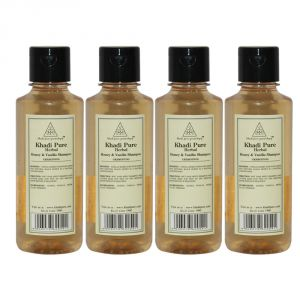 Khadi Pure Herbal Honey & Vanilla Shampoo - 210ml (set Of 4)