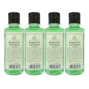 Khadi Pure Herbal Neem & Aloevera Shampoo - 210ml (Set Of 4)