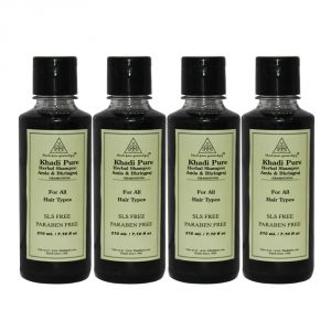 Khadi Pure Herbal Amla & Bhringraj Shampoo Sls-paraben Free - 210ml (set Of 4)
