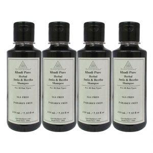 Khadi Pure Herbal Amla & Reetha Shampoo SLS-Paraben Free - 210ml (Set Of 4)