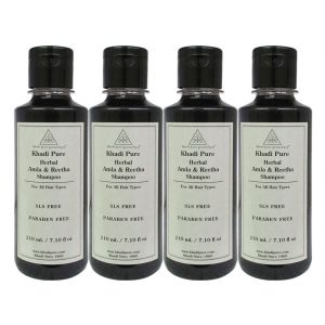 Khadi Pure Herbal Amla & Reetha Shampoo Sls-paraben Free - 210ml (set Of 4)