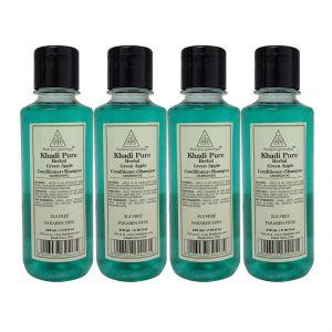 Khadi Pure Herbal Green Apple Shampoo   Conditioner SLS-Paraben Free - 210ml (Set Of 4)