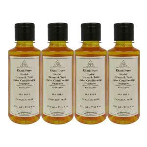 Khadi Pure Herbal Henna & Tulsi Extra Conditioning Shampoo SLS-Paraben Free - 210ml (Set Of 4)
