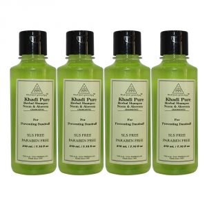 Benetton,Wow,Gucci,Kent,Himalaya,Khadi Hair Care - Khadi Pure Herbal Neem & Aloevera Shampoo SLS-Paraben Free - 210ml (Set of 4)