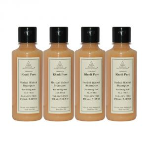 Khadi Pure Herbal Walnut Shampoo SLS-Paraben Free - 210ml (Set Of 4)