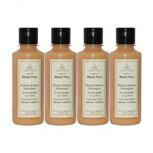 Khadi Pure Herbal Walnut Shampoo SLS-Paraben Free - 210ml (Set Of 4)