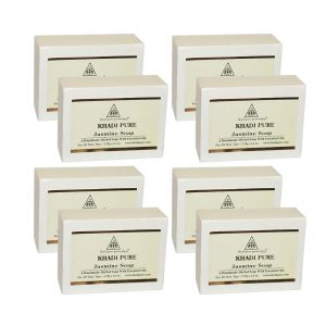 Globus,Diesel,Khadi,Nike,Kent,Ag Personal Care & Beauty - Khadi Pure Herbal Jasmine Soap - 125g (Set of 8) KP4207