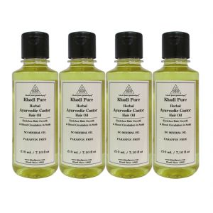 Nike,Cameleon,Bourjois,Estee Lauder,Kaamastra,Davidoff,Khadi,Calvin Klein,Globus Personal Care & Beauty - Khadi Pure Herbal Ayurvedic Castor Hair Oil - 210ml (Set of 4)