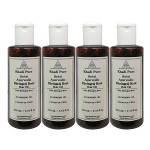 Nike,Cameleon,Estee Lauder,Kaamastra,Davidoff,Khadi,Calvin Klein,Globus Personal Care & Beauty - Khadi Pure Herbal Ayurvedic Bhringraj Root Hair Oil - 210ml (Set of 4)