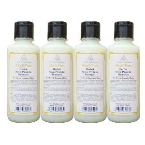 Khadi Pure Herbal Soya Protein Shampoo - 210ml (Set Of 4)