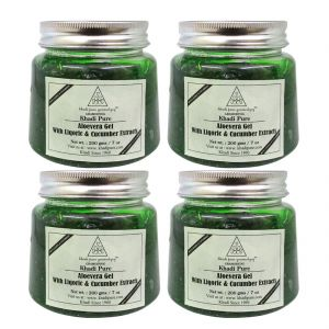 Khadi Pure Herbal Aloevera Gel With Liquorice & Cucumber Extracts (green) - 200g (set Of 4)