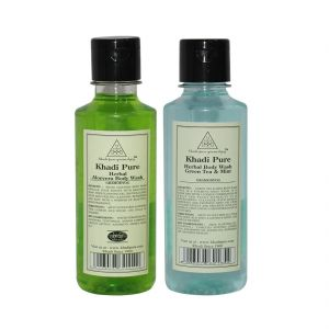 Khadi Pure Aloevera And Green Tea & Mint Body Wash Combo (420ml) Pack 2