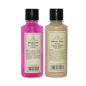 Khadi Pure Jasmine & Mogra And Rose Body Wash Combo (420ml) Pack 2