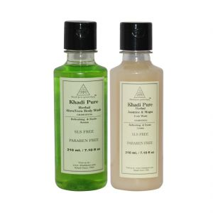 Khadi Pure Aloevera And Jasmine & Mogra Body Wash Sls Free Combo (420ml) Pack 2