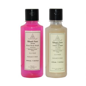 Khadi Pure Jasmine & Mogra And Rose Body Wash Sls Free Combo (420ml) Pack 2