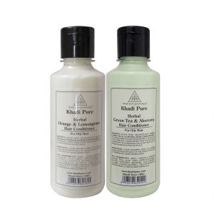 Khadi Pure Green Tea & Aloevera And Orange & Lemongrass Hair Conditioner Combo (420ml) Pack 2
