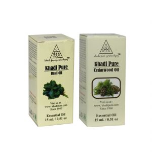 Khadi Pure Basil And Cedarwood Essential Oil Combo (30ml) Pack 2
