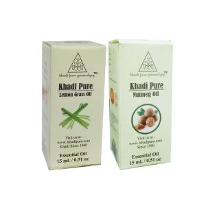 Khadi Pure Lemongrass And Nutmeg Essential Oil Combo (30ml) Pack 2
