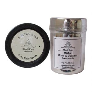 Khadi Pure Rose & Papaya And Gold Face Scrub Combo (100g) Pack 2