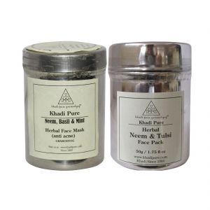 Khadi Pure Neem, Basil & Mint And Neem & Tulsi Face Pack/mask Combo (50g) Pack 2