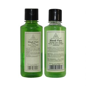 Khadi Pure Neem, Teatree & Basil Face Wash Combo (210 Ml Each) Pack 2