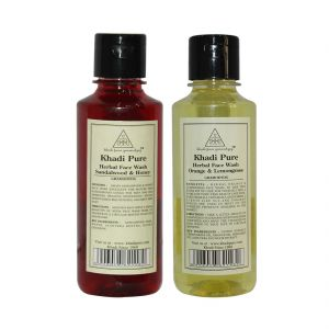 Khadi Pure Andange & Lemongrass And Sandalwood & Honey Face Wash Combo (420ml) Pack 2