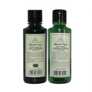 Khadi Pure Amla & Bhringraj And Ayurvedic 18 Herbs Hair Oil Combo (420ml) Pack 2