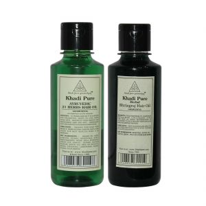 Khadi Pure Ayurvedic 21 Herbs And Bhringraj Hair Oil Combo (420ml) Pack 2