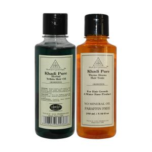 Khadi Pure Thyme Henna Hair Tonic And Triphala Hair Oil Combo (420ml) Pack 2
