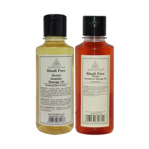 Khadi Pure Jasmine And Sandalwood Massage Oil Combo (420ml) Pack 2