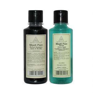 Khadi Pure Amla & Reetha And Green Apple Shampoo Combo (420ml) Pack 2