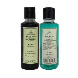 Khadi Pure Amla & Bhringraj And Green Apple Shampoo SLS Free Combo (420ml) Pack 2